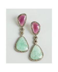 Amrapali | Blue Mint and Raspberry Sapphire Diamond Drop Earrings | Lyst