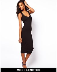 ASOS - Black Midi Vest Bodycon Dress - Lyst