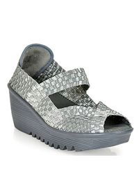 Bernie Mev   Metallic Halle Mary Jane Wedge in Silver and Grey   Lyst