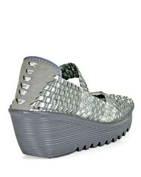Bernie Mev - Metallic Halle Mary Jane Wedge in Silver and Grey - Lyst