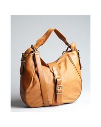 Burberry | Brown Caramel Leather and Canvas Buckle Shoulder Bag | Lyst