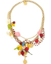 Dolce & Gabbana | Metallic Estate Goldplated Garnet Necklace | Lyst