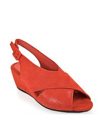 Pas De Rouge | E937 Color Wedge Sandal in Red Suede | Lyst