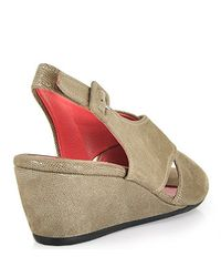Pas De Rouge - Gray E937 Wedge Sandal in Taupe Suede - Lyst