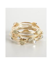 R.j. Graziano - Metallic Set Of 10 Gold and Crystal Thin Bangles - Lyst
