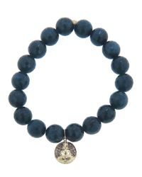 Sydney Evan - Blue Buddha Charm Bracelet - Lyst