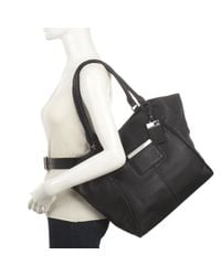 Nine West - Black Grammercy Large Leather Tote - Lyst