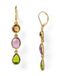 Carolee - Brown Stained Glass Linear Drop Earrings - Lyst