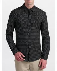 DIESEL - Black Sarzana Spot Print Long Sleeve Shirt for Men - Lyst