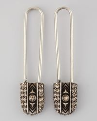 House of Harlow 1960 - Metallic Crystal Safety Pin Drop Earrings Stylist Pick - Lyst