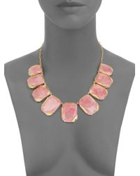 kate spade new york | Pink Stepping Stones Rose Quartz Necklace | Lyst