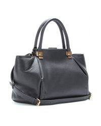 Lanvin - Black Trilogy Small Texturedleather Tote - Lyst