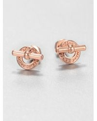 Marc By Marc Jacobs - Metallic Logo Toggle Stud Earringsrose Goldtone - Lyst