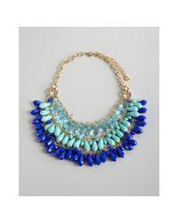 R.j. Graziano - Blue Acrylic Crystal Triple Strand Bib Necklace - Lyst