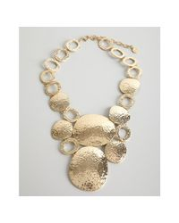 R.j. Graziano | Metallic Gold Hammered Metal Disc Bib Necklace | Lyst
