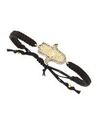 Tai - Black Cz Hamsa Charm Bracelet - Lyst