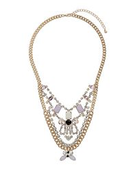 TOPSHOP - Premium Pink and Crystal Drape Necklace - Lyst