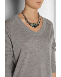 J.Crew - Green Goldtone Glass Crystal Rope Necklace - Lyst
