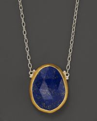 Gurhan | Metallic Sterling Silver And 24K Yellow Gold Lapis Pendant Elements Necklace, 18"