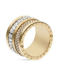 Michael Kors | Metallic Pave & Baguette Barrel Ring | Lyst