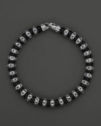 Scott Kay | Black Mens Sterling Silver and Matte Onyx Beaded Bracelet with Riveted Stations for Men | Lyst