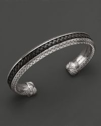 Scott Kay | Metallic Mens Sterling Silver Cuff with Woven Black Leather Inlay for Men | Lyst