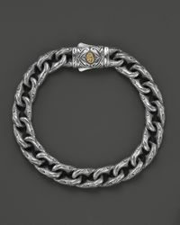 Scott Kay - Metallic Mens Sterling Silver Engraved Twisted Anchor Bracelet with 18k Gold Accent Clasp for Men - Lyst