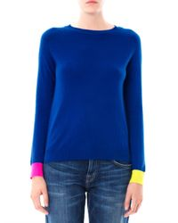 Chinti & Parker | Blue Contrast-Cuff Cashmere Sweater | Lyst