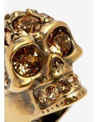Alexander McQueen - Metallic Crystal Embedded Skull Ring - Lyst