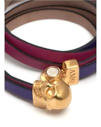 Alexander McQueen - Purple Layered Strap Leather Wrap Bracelet - Lyst