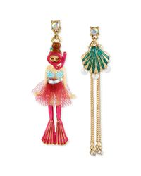 Betsey Johnson | Red Gold-tone Scuba Girl and Sea Shell Mismatch Earrings | Lyst