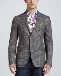 Etro | Black Wool Plaid Sport Coat for Men | Lyst