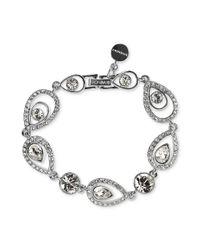Givenchy | Metallic Silver Tone Swarovski Crystal Teardrop Pave Link Bracelet  | Lyst