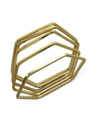 Guess - Metallic Bracelet Set Goldtone Hexagon Set Of 5 Bangles - Lyst