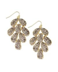 INC International Concepts | Multicolor Goldtone Black Diamond Glass Layered Leaves Chandelier Earrings | Lyst