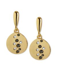 Kenneth Cole - Metallic Goldtone Pave Circle Drop Earrings - Lyst