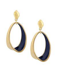 Robert Lee Morris | Metallic Goldtone Navy Oval Twist Drop Earrings | Lyst