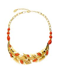 T Tahari | Metallic 14k Goldplated Coral Leaf Frontal Necklace | Lyst