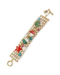 Betsey Johnson - Multicolor Antique Goldtone Fish and Sea Shell Toggle Bracelet - Lyst