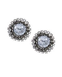 Betsey Johnson | Blue Crystal Burst Stud Earrings | Lyst