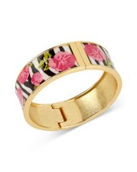 Betsey Johnson | Multicolor Goldtone Zebra Rose Hinged Bangle Bracelet | Lyst