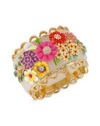 Betsey Johnson | Multicolor Multi Flower Hinged Bangle Bracelet | Lyst