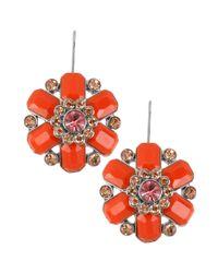 Betsey Johnson - Orange Rhodiumplated Flower Drop Earrings - Lyst