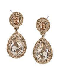 Carolee - Metallic Gold-tone Pave Glass Teardrop Earrings - Lyst