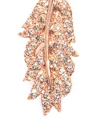 Elise Dray - Diamond Pink Gold Clip Feather Earring - Lyst