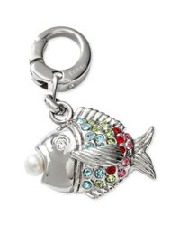 Fossil | Metallic Silver Tone Multicolor Sparkling Fish Charm | Lyst