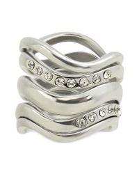 Guess - Metallic Ring Set Silvertone with Pave Set Of 5 Stackable Rings - Lyst