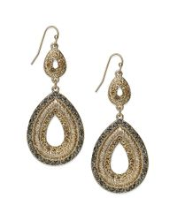 INC International Concepts - Metallic 12k Goldplated Glass Accent Drop Earrings - Lyst