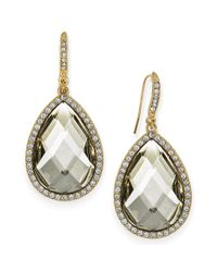 INC International Concepts | Metallic Gold-tone Black/grey Cabochon Pave Edge Teardrop Earrings | Lyst