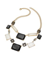 INC International Concepts | Metallic Goldtone Black and White Stone Bib Necklace | Lyst